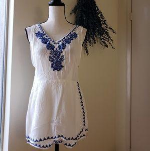 NWT Royal Blue Embroidered White Romper Skirt